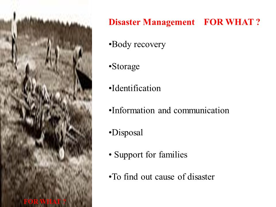 Disaster Management FOR WHAT .