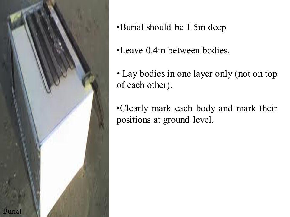 Burial should be 1.5m deep Leave 0.4m between bodies.