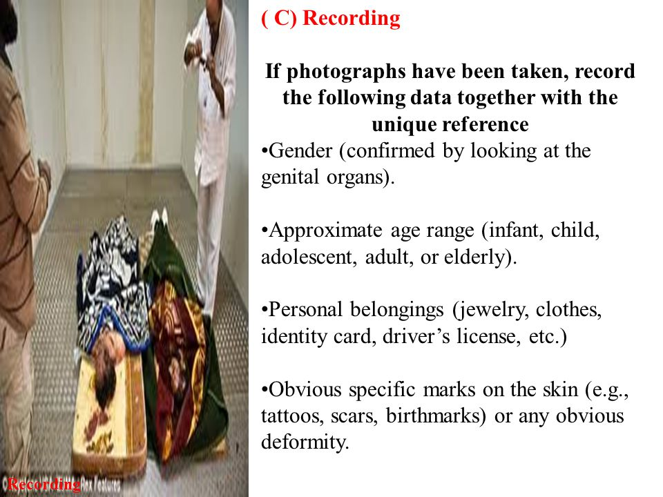 ( C) Recording If photographs have been taken, record the following data together with the unique reference Gender (confirmed by looking at the genital organs).