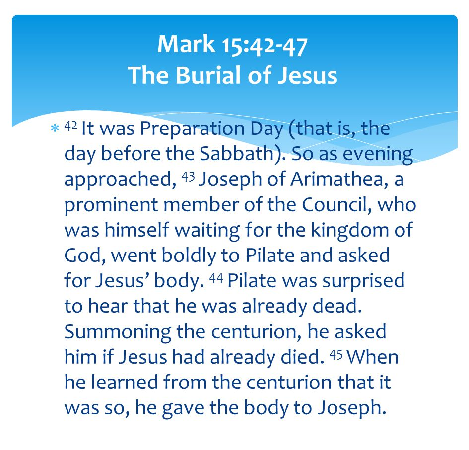  42 It was Preparation Day (that is, the day before the Sabbath).