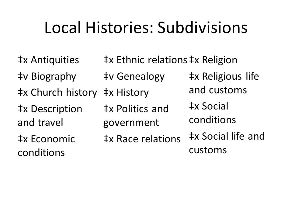 Local Histories: Subdivisions ‡x Antiquities ‡v Biography ‡x Church history ‡x Description and travel ‡x Economic conditions ‡x Ethnic relations ‡v Ge