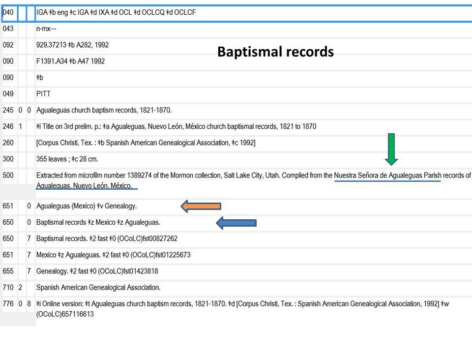 Baptismal records