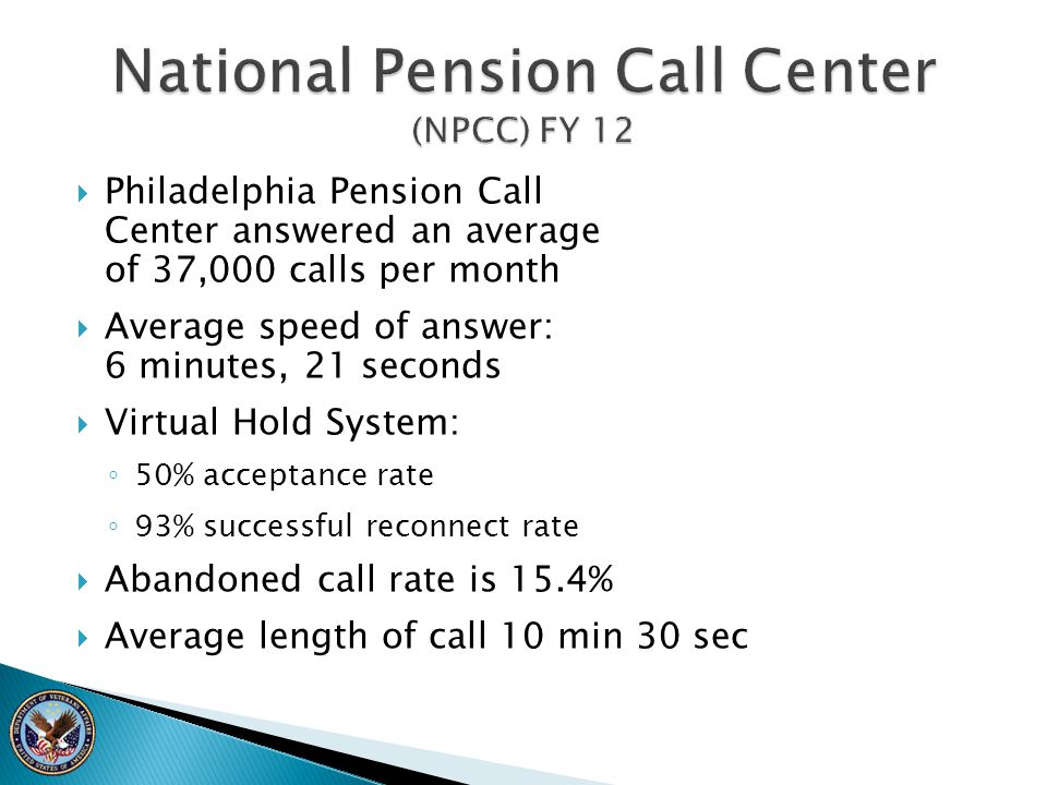  Philadelphia Pension Call Center answered an average of 37,000 calls per month  Average speed of answer: 6 minutes, 21 seconds  Virtual Hold Syste
