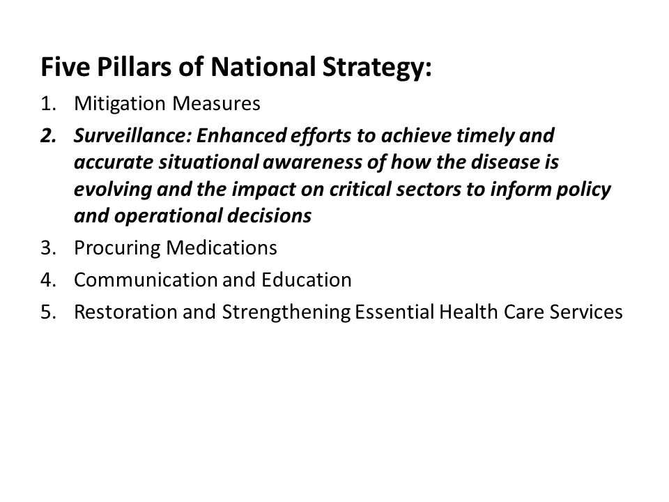 Five Pillars of National Strategy: 1.Mitigation Measures 2.Surveillance: Enhanced efforts to achieve timely and accurate situational awareness of how the disease is evolving and the impact on critical sectors to inform policy and operational decisions 3.Procuring Medications 4.Communication and Education 5.Restoration and Strengthening Essential Health Care Services