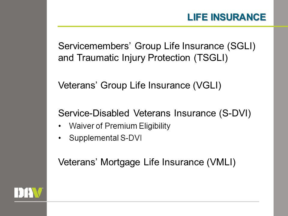 LIFE INSURANCE Servicemembers' Group Life Insurance (SGLI) and Traumatic Injury Protection (TSGLI) Veterans' Group Life Insurance (VGLI) Service-Disab