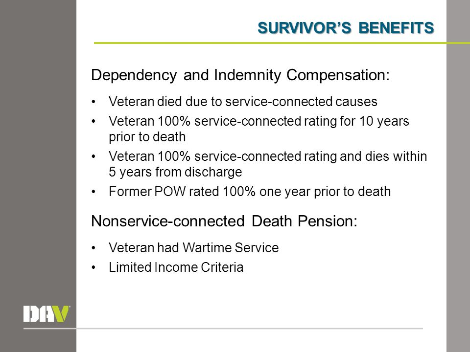 SURVIVOR'S BENEFITS Dependency and Indemnity Compensation: Veteran died due to service-connected causes Veteran 100% service-connected rating for 10 years prior to death Veteran 100% service-connected rating and dies within 5 years from discharge Former POW rated 100% one year prior to death Nonservice-connected Death Pension: Veteran had Wartime Service Limited Income Criteria