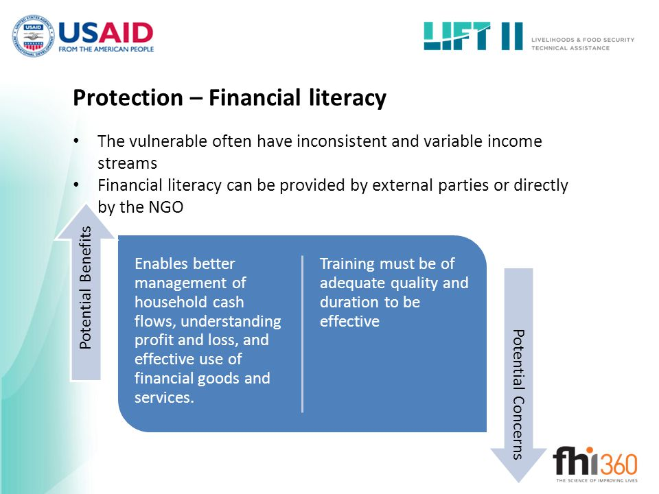 Protection – Financial literacy The vulnerable often have inconsistent and variable income streams Financial literacy can be provided by external parties or directly by the NGO Enables better management of household cash flows, understanding profit and loss, and effective use of financial goods and services.