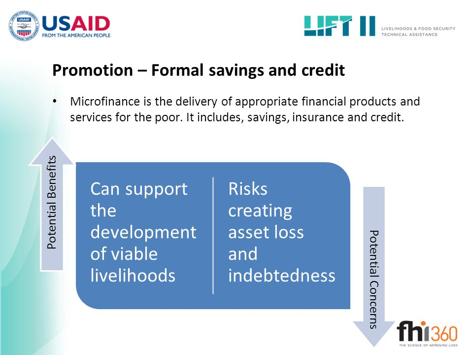 Promotion – Formal savings and credit Microfinance is the delivery of appropriate financial products and services for the poor.