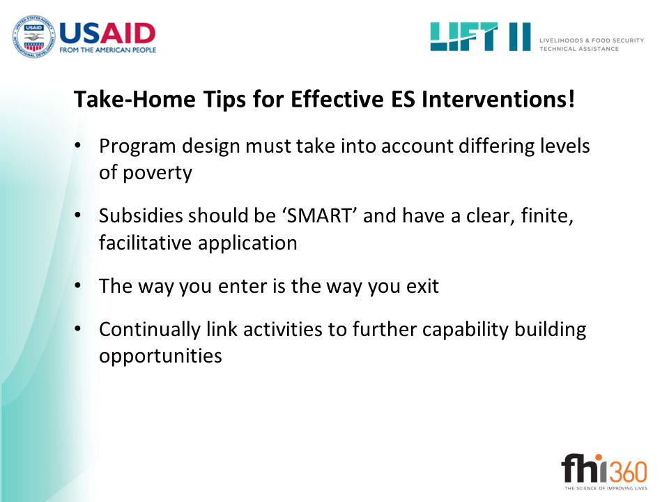 Take-Home Tips for Effective ES Interventions.