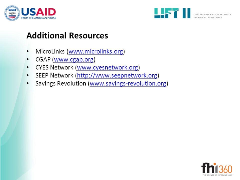 Additional Resources MicroLinks (www.microlinks.org)www.microlinks.org CGAP (www.cgap.org)www.cgap.org CYES Network (www.cyesnetwork.org)www.cyesnetwo