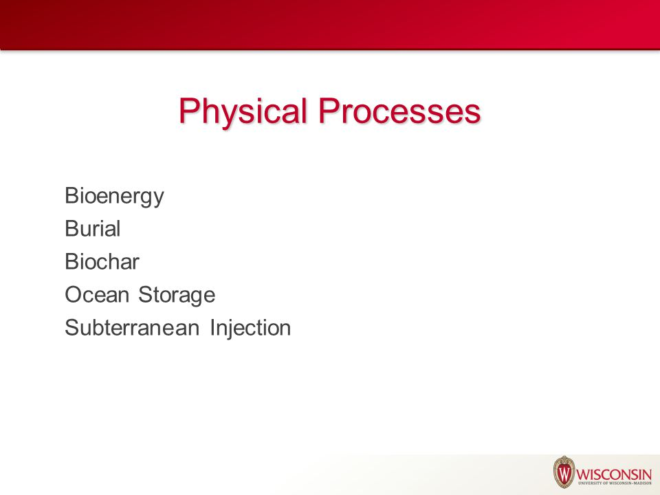Physical Processes Bioenergy Burial Biochar Ocean Storage Subterranean Injection