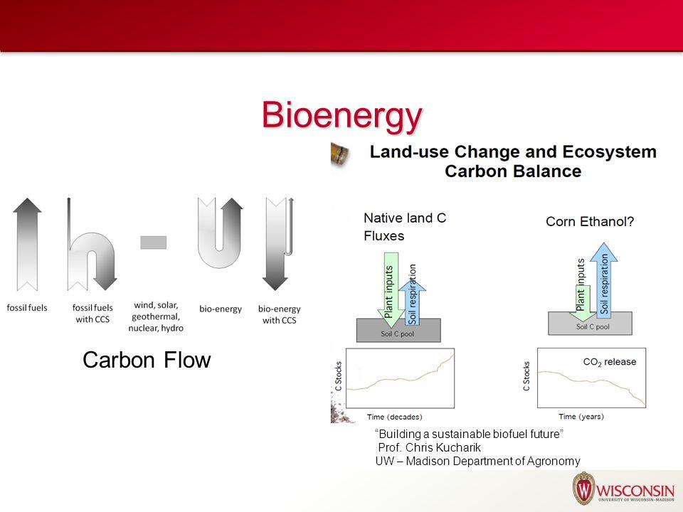 "Bioenergy Carbon Flow ""Building a sustainable biofuel future"" Prof. Chris Kucharik UW – Madison Department of Agronomy"