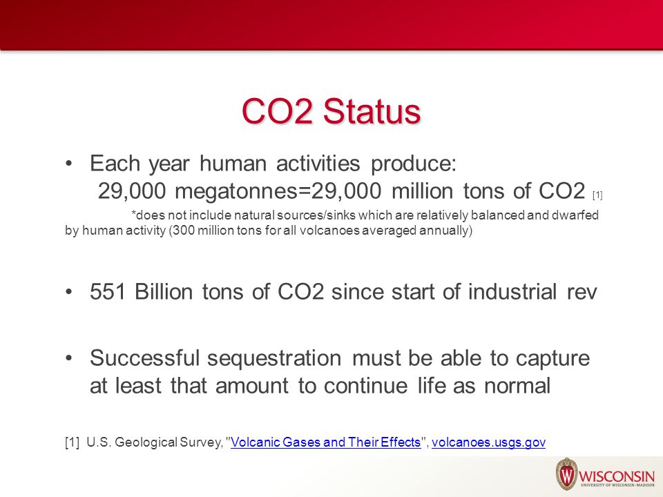 CO2 Status Each year human activities produce: 29,000 megatonnes=29,000 million tons of CO2 [1] *does not include natural sources/sinks which are rela