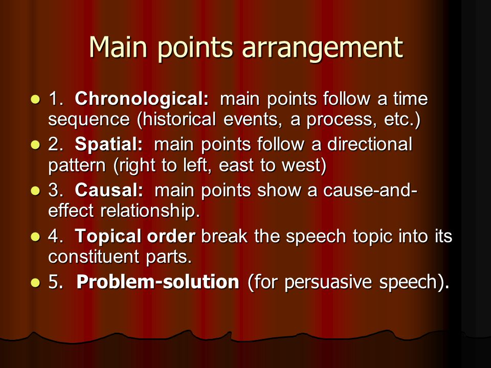 Main points arrangement 1. Chronological: main points follow a time sequence (historical events, a process, etc.) 1. Chronological: main points follow