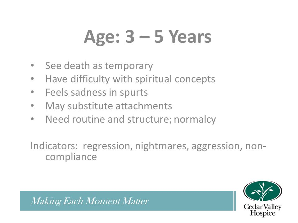 Making Each Moment Matter Age: 3 – 5 Years See death as temporary Have difficulty with spiritual concepts Feels sadness in spurts May substitute attachments Need routine and structure; normalcy Indicators: regression, nightmares, aggression, non- compliance