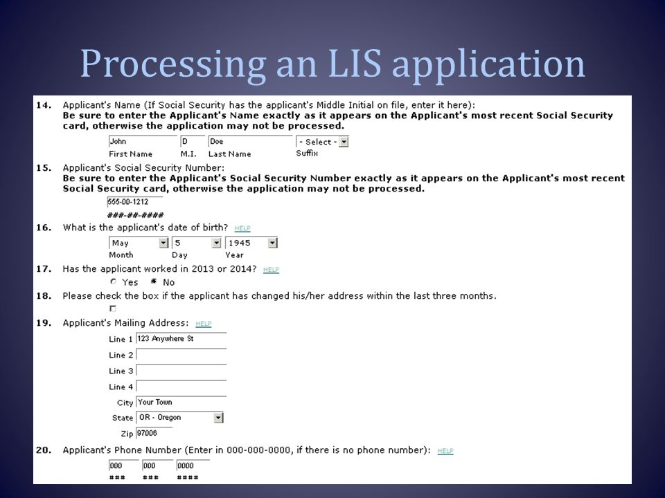Processing an LIS application 16