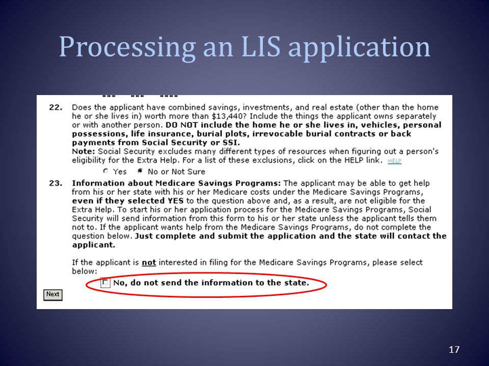 Processing an LIS application 17