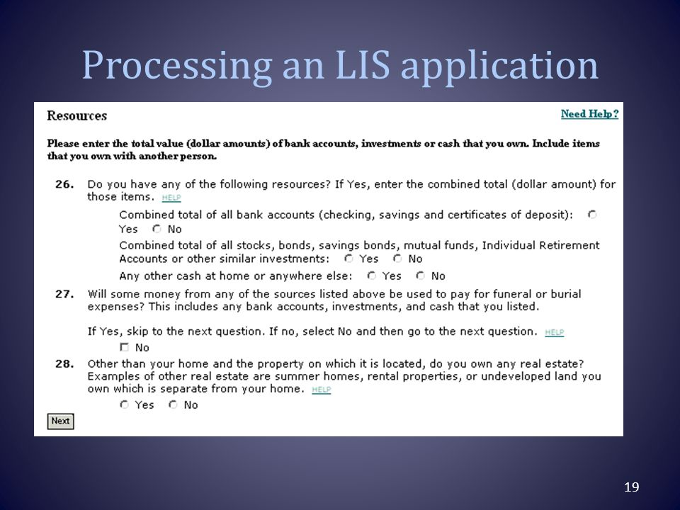 Processing an LIS application 19