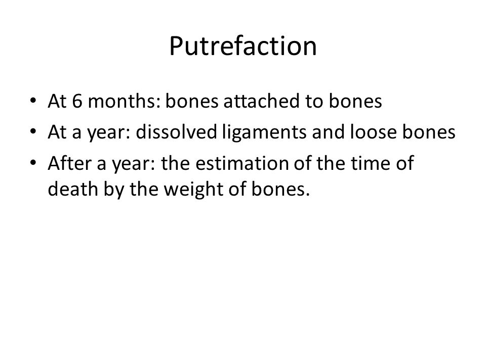 Putrefaction At 6 months: bones attached to bones At a year: dissolved ligaments and loose bones After a year: the estimation of the time of death by the weight of bones.