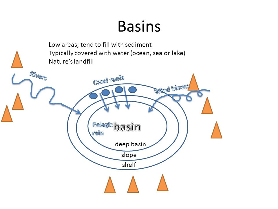 Basins Low areas; tend to fill with sediment Typically covered with water (ocean, sea or lake) Nature's landfill shelf slope deep basin