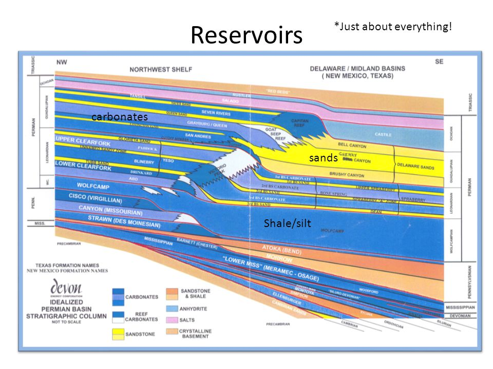 Reservoirs *Just about everything! sands Shale/silt carbonates