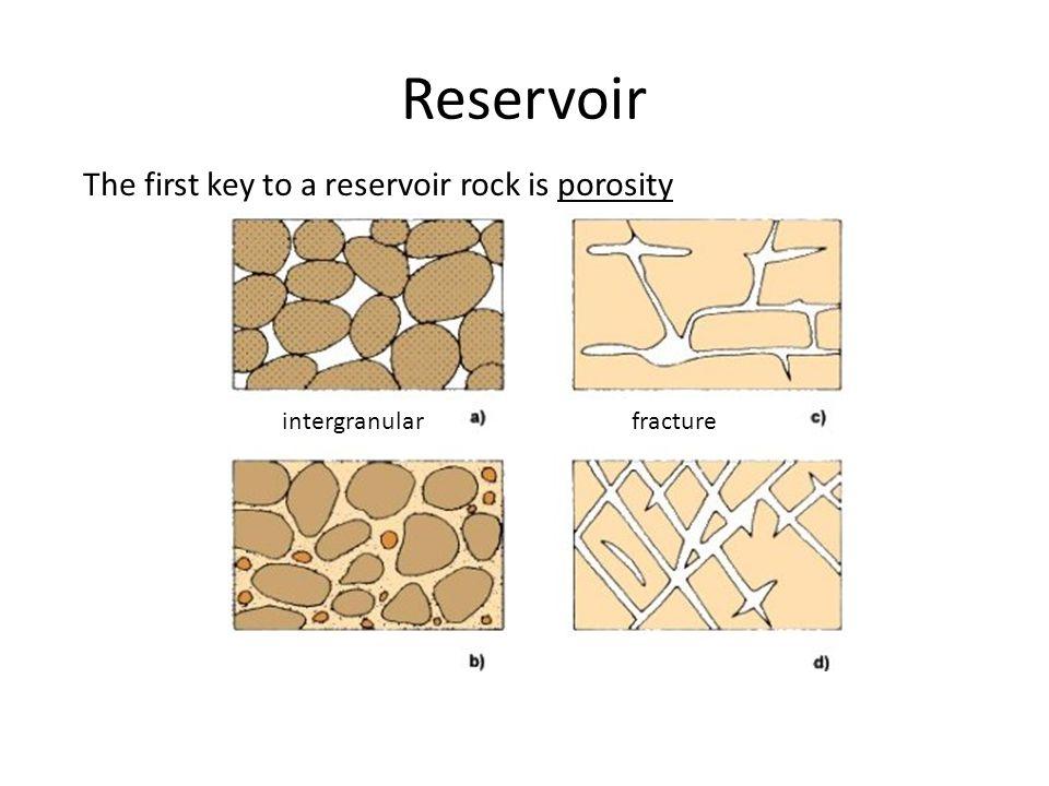 Reservoir The first key to a reservoir rock is porosity intergranularfracture