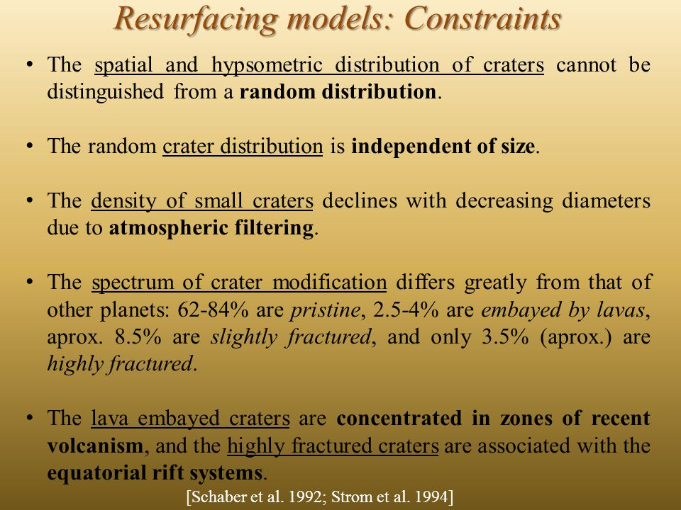 The spatial and hypsometric distribution of craters cannot be distinguished from a random distribution.