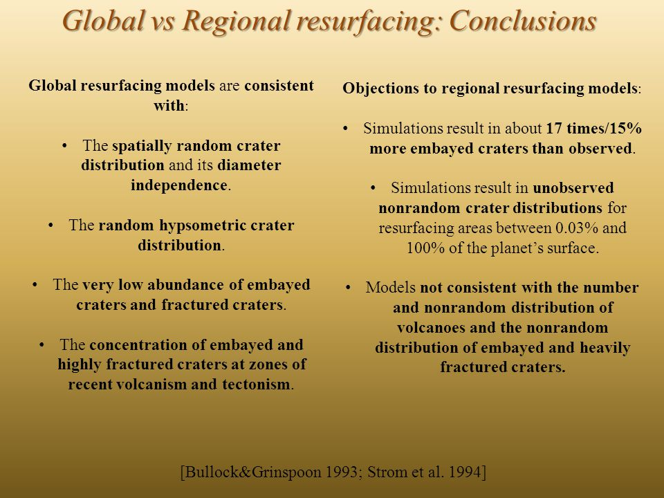 Global vs Regional resurfacing: Conclusions Objections to regional resurfacing models : Simulations result in about 17 times/15% more embayed craters than observed.