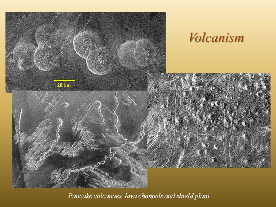 Pancake volcanoes, lava channels and shield plain Volcanism