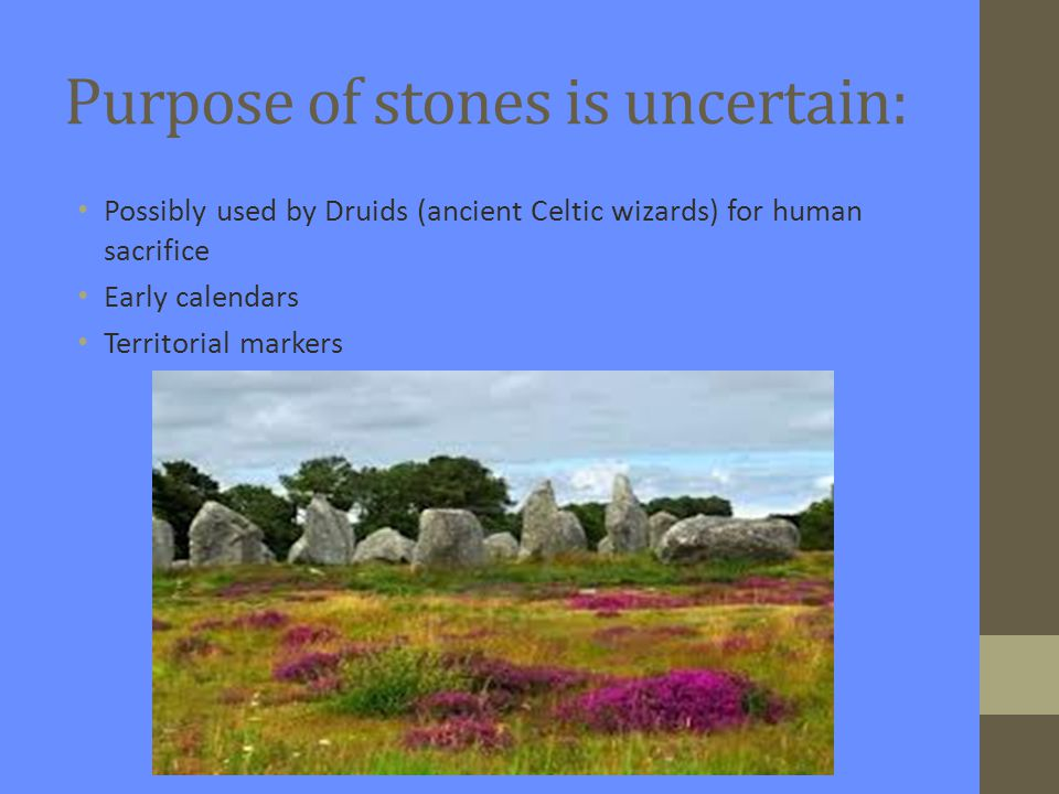Purpose of stones is uncertain: Possibly used by Druids (ancient Celtic wizards) for human sacrifice Early calendars Territorial markers