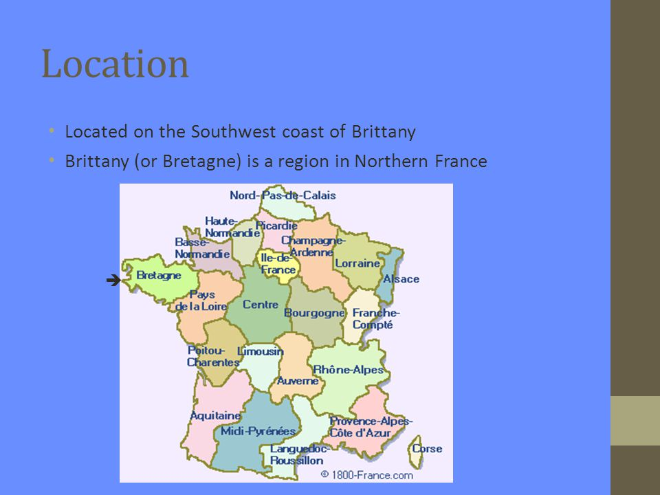 Map of Brittany with Carnac 