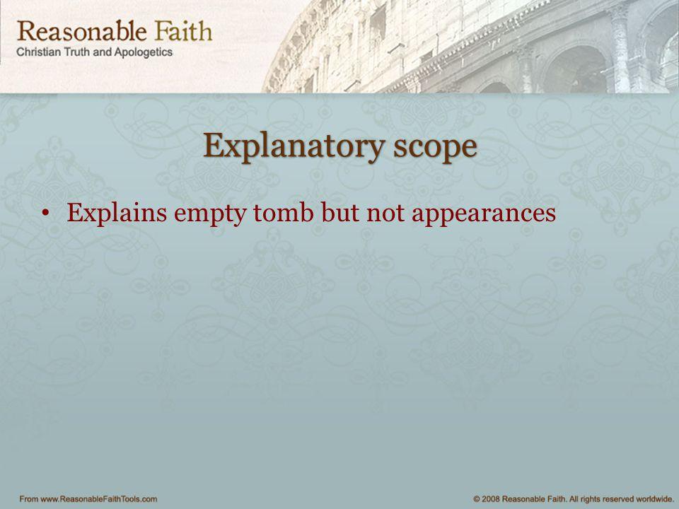 Explanatory scope Explains empty tomb but not appearances