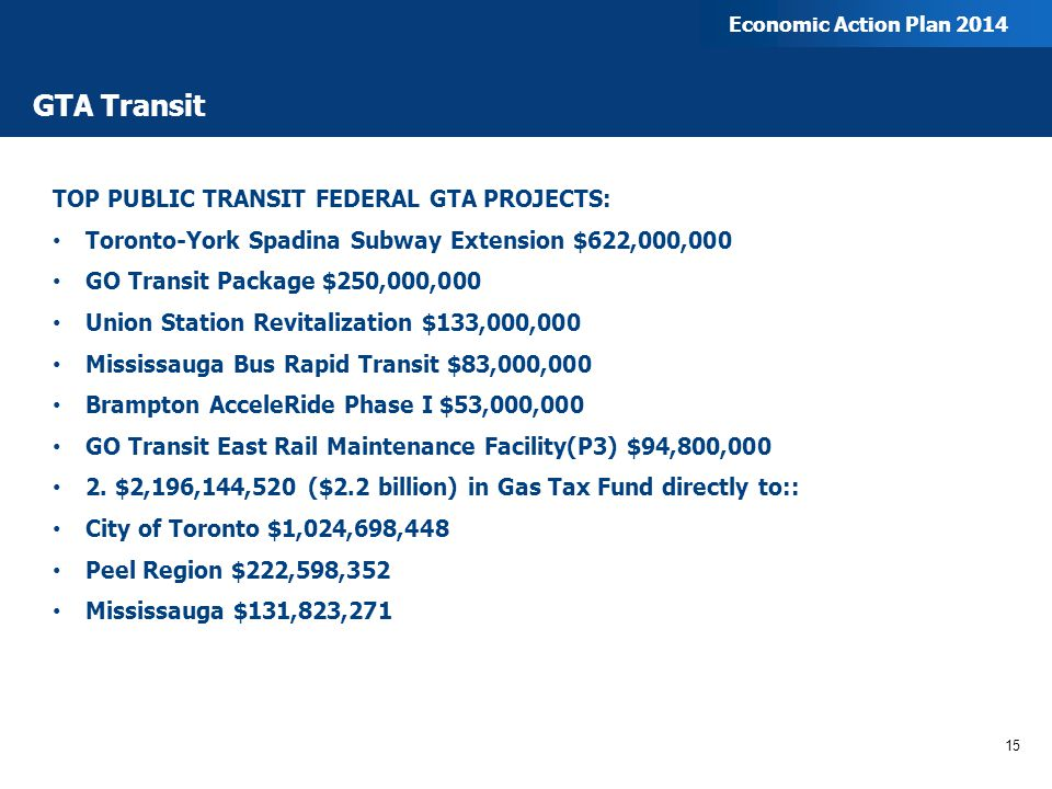 GTA Transit TOP PUBLIC TRANSIT FEDERAL GTA PROJECTS: Toronto-York Spadina Subway Extension $622,000,000 GO Transit Package $250,000,000 Union Station