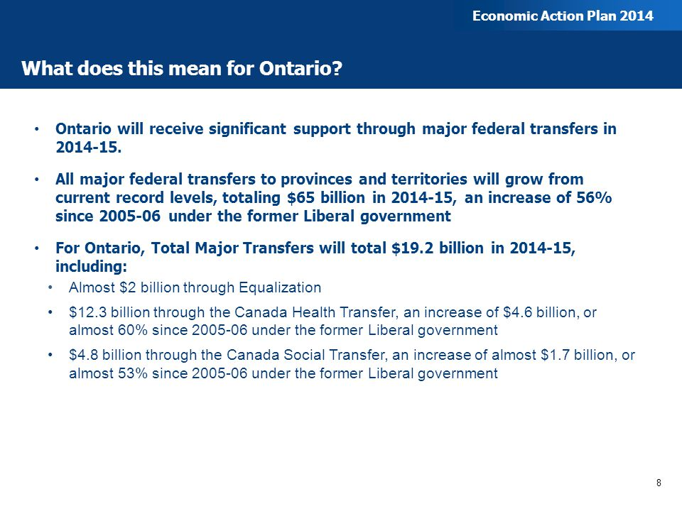 What does this mean for Ontario? Ontario will receive significant support through major federal transfers in 2014-15. All major federal transfers to p
