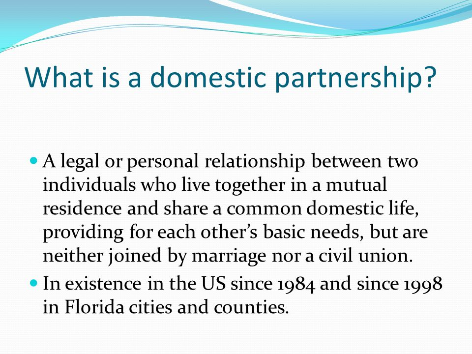 What is a domestic partnership.