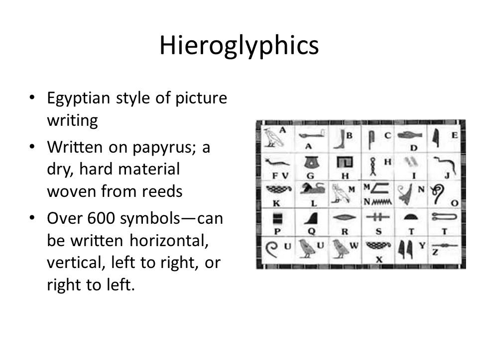 Hieroglyphics Egyptian style of picture writing Written on papyrus; a dry, hard material woven from reeds Over 600 symbols—can be written horizontal, vertical, left to right, or right to left.