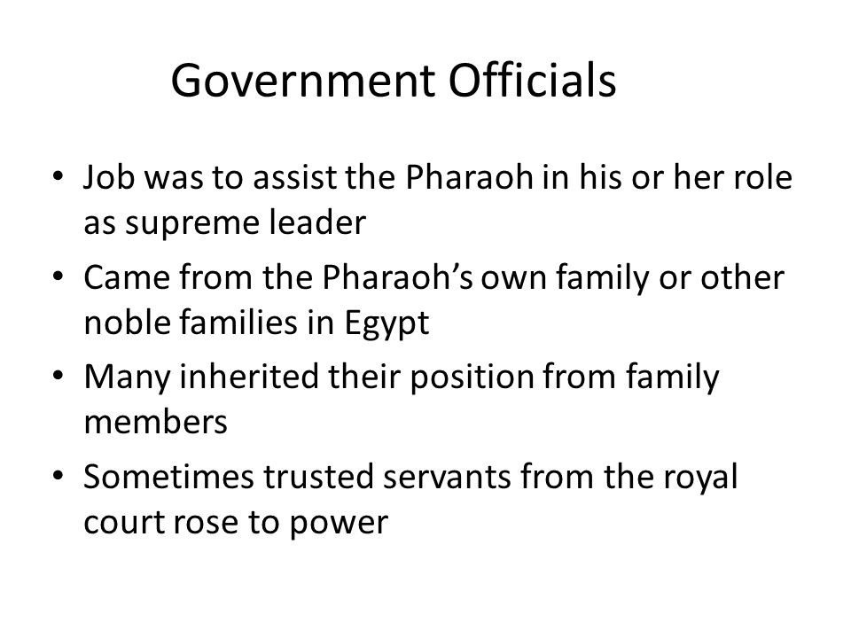 Government Officials Job was to assist the Pharaoh in his or her role as supreme leader Came from the Pharaoh's own family or other noble families in Egypt Many inherited their position from family members Sometimes trusted servants from the royal court rose to power