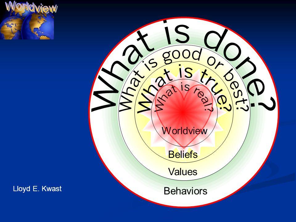 Beliefs Values Behaviors Worldview Lloyd E. Kwast