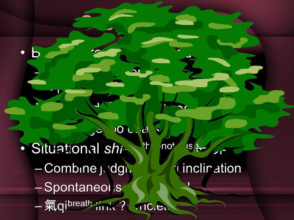 Sagehood Ideal BanyanBanyan tree = sagehood –Universal –Universal concern Flood-like 浩Flood-like 浩 然之氣 qi breath Heart and 智 zhi wisdom and 智 zhi wisdom responsiveness –Language –Language too coarse, imprecise SituationalSituational shi-fei this-not shi-fei this-not this 是 this 是 非 –Combine –Combine judgment and inclination –Spontaneous –Spontaneous and natural – 氣 qi breath – 氣 qi breath link .