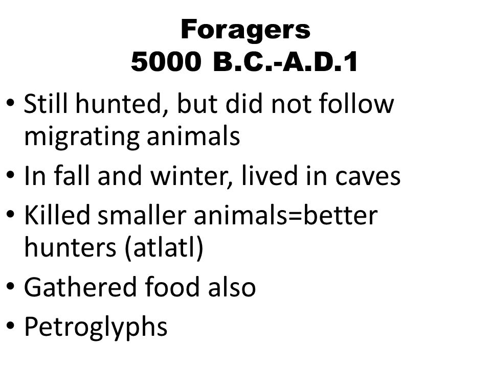 Foragers 5000 B.C.-A.D.1 Still hunted, but did not follow migrating animals In fall and winter, lived in caves Killed smaller animals=better hunters (atlatl) Gathered food also Petroglyphs