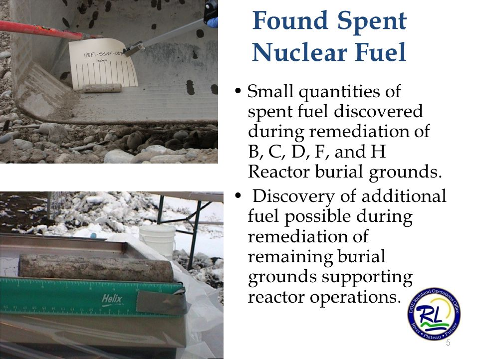 Small quantities of spent fuel discovered during remediation of B, C, D, F, and H Reactor burial grounds.