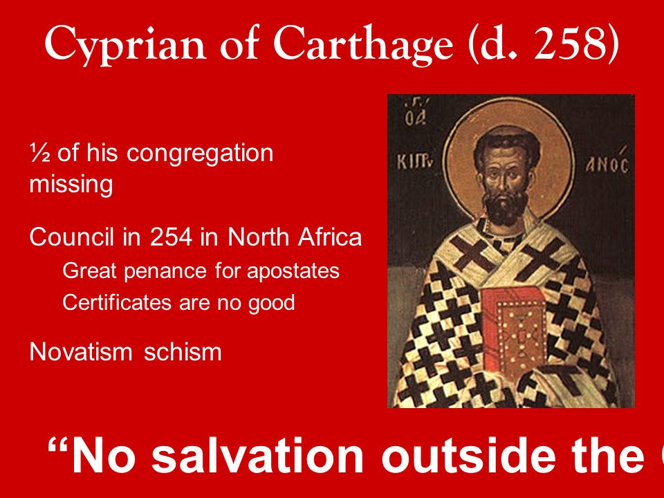 ½ of his congregation missing Council in 254 in North Africa Great penance for apostates Certificates are no good Novatism schism Cyprian of Carthage (d.