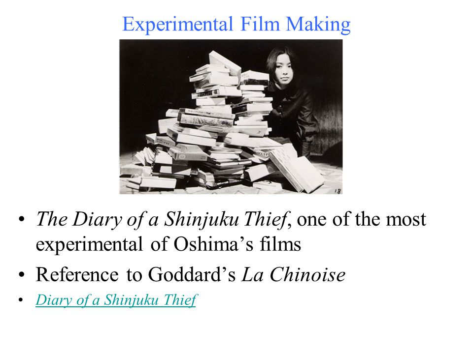 Experimental Film Making The Diary of a Shinjuku Thief, one of the most experimental of Oshima's films Reference to Goddard's La Chinoise Diary of a S