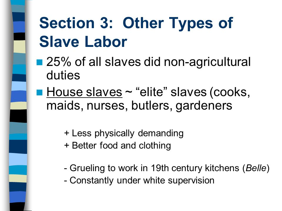 """Section 3: Other Types of Slave Labor 25% of all slaves did non-agricultural duties House slaves ~ """"elite"""" slaves (cooks, maids, nurses, butlers, gard"""