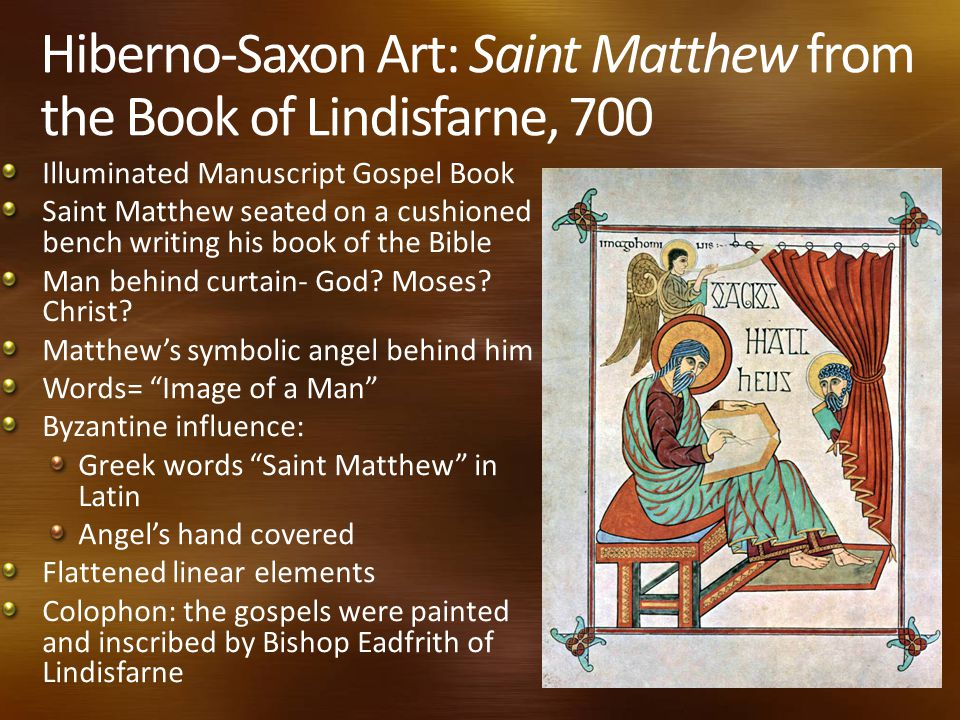Hiberno-Saxon Art: Saint Matthew from the Book of Lindisfarne, 700 Illuminated Manuscript Gospel Book Saint Matthew seated on a cushioned bench writing his book of the Bible Man behind curtain- God.