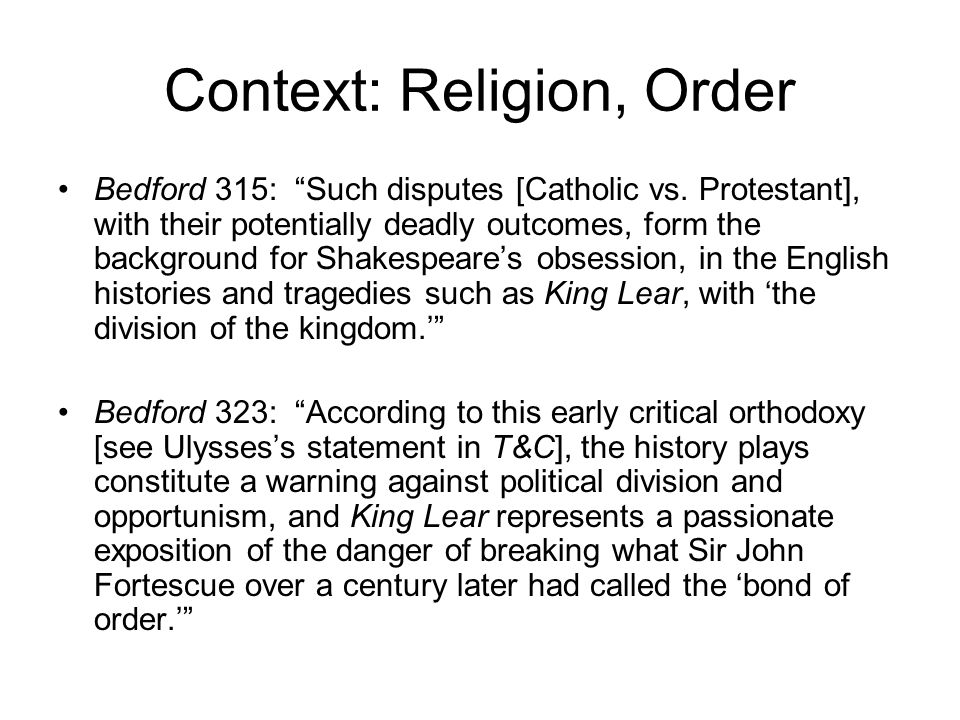 Context: Religion, Order Bedford 315: Such disputes [Catholic vs.