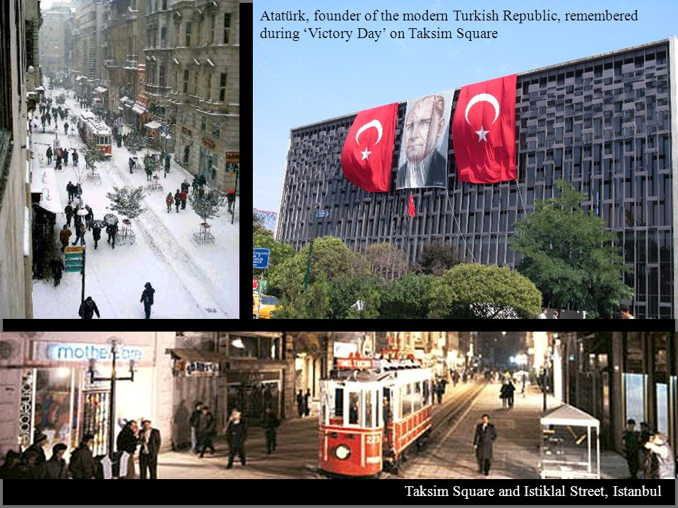 Taksim Square and Istiklal Street, Istanbul Atatürk, founder of the modern Turkish Republic, remembered during 'Victory Day' on Taksim Square