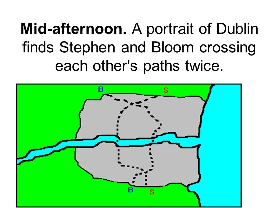 Mid-afternoon. A portrait of Dublin finds Stephen and Bloom crossing each other s paths twice.