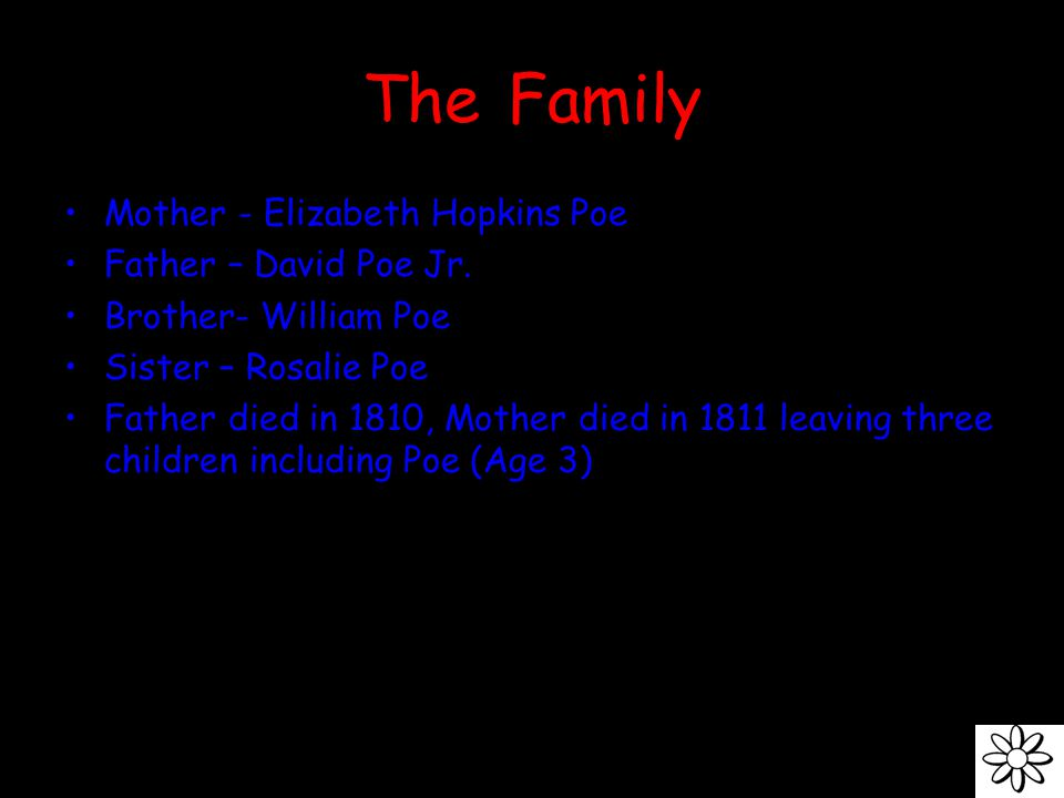 The Family Mother - Elizabeth Hopkins Poe Father – David Poe Jr.