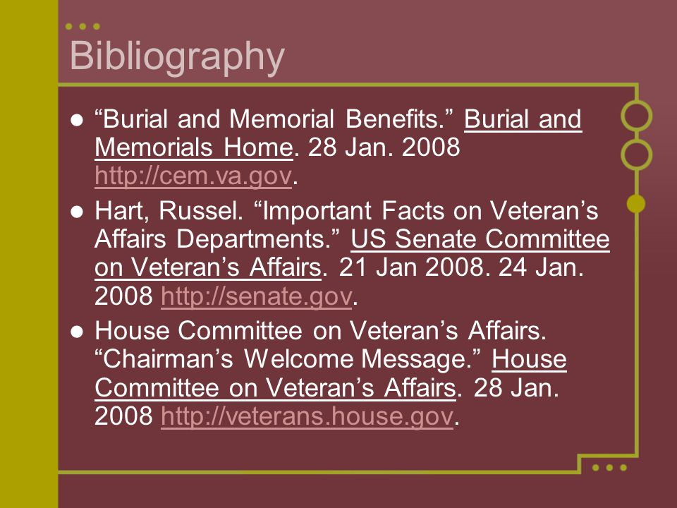 Bibliography Burial and Memorial Benefits. Burial and Memorials Home.